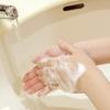 洗面所でせっけんで手を洗っている