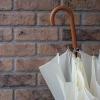 レンガの壁に白い傘