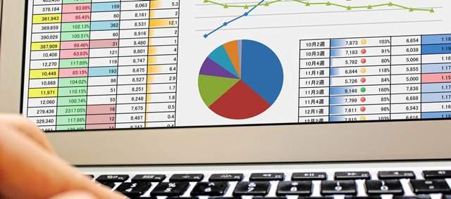 パソコンの画面がアップになり、様々な数値が入った表や円グラフ、折れ線グラフが表示されている