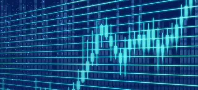 濃紺の背景に水色の光でチャートグラフが表示された画面