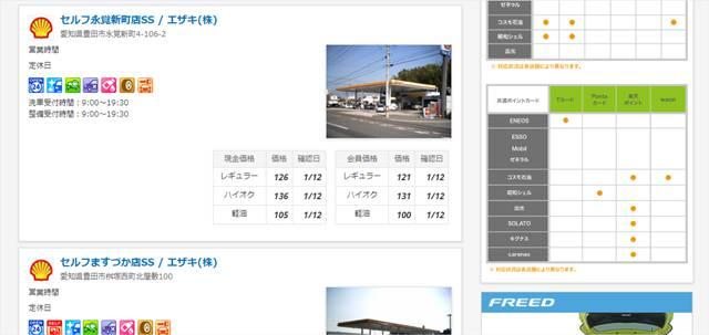gogo.gsのガソリンスタンド検索の結果一覧