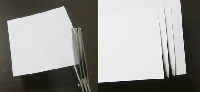 シュレッダーハサミでメモ用紙に縦に切り込みを入れたところ