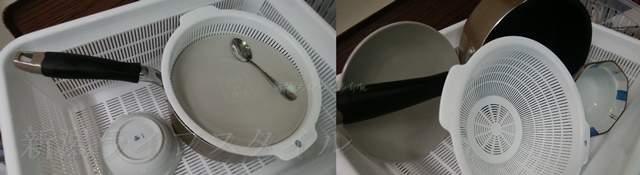 洗い終わった食器の置き方の良くない例と良い例