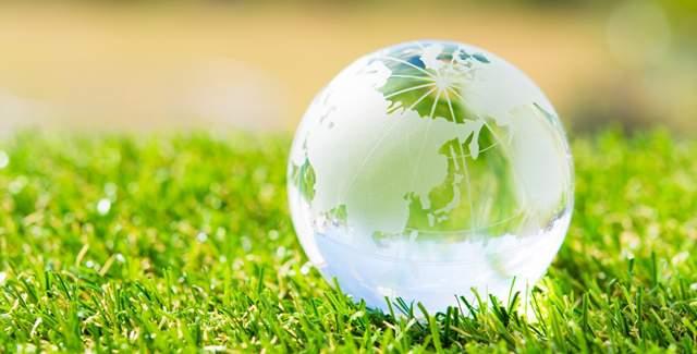 晴れた日の庭の芝生の上にガラスの地球儀が置かれている