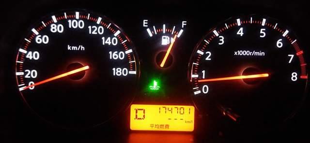 夜間の車のタコメーターのアップの画像