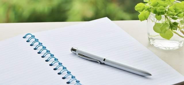 机に開いて置かれたノートの上にペン、横に小さい植物