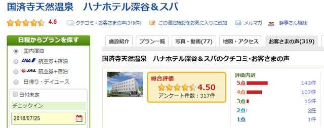 楽天トラベルの国済寺温泉ハナホテルのお客様の声のページ