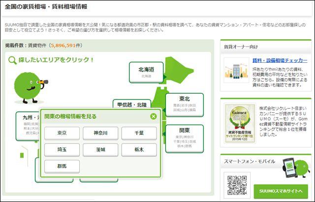 SUUMOの家賃相場調べ画面