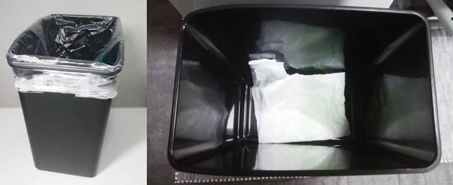 Dustbox Square Modelにスーパーの袋をかけた状態と、ゴミ箱の底にスーパーの袋をたたんで置いた図