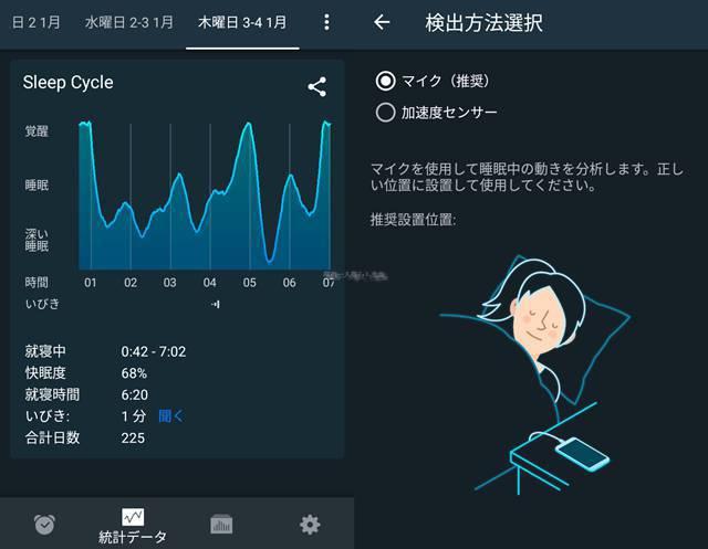 SleepCycleの睡眠曲線と検知方法選択画面